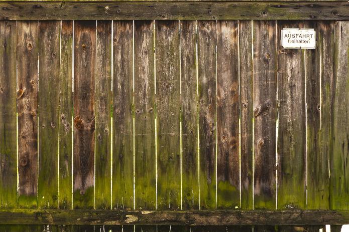 Zaun mit Grünspan