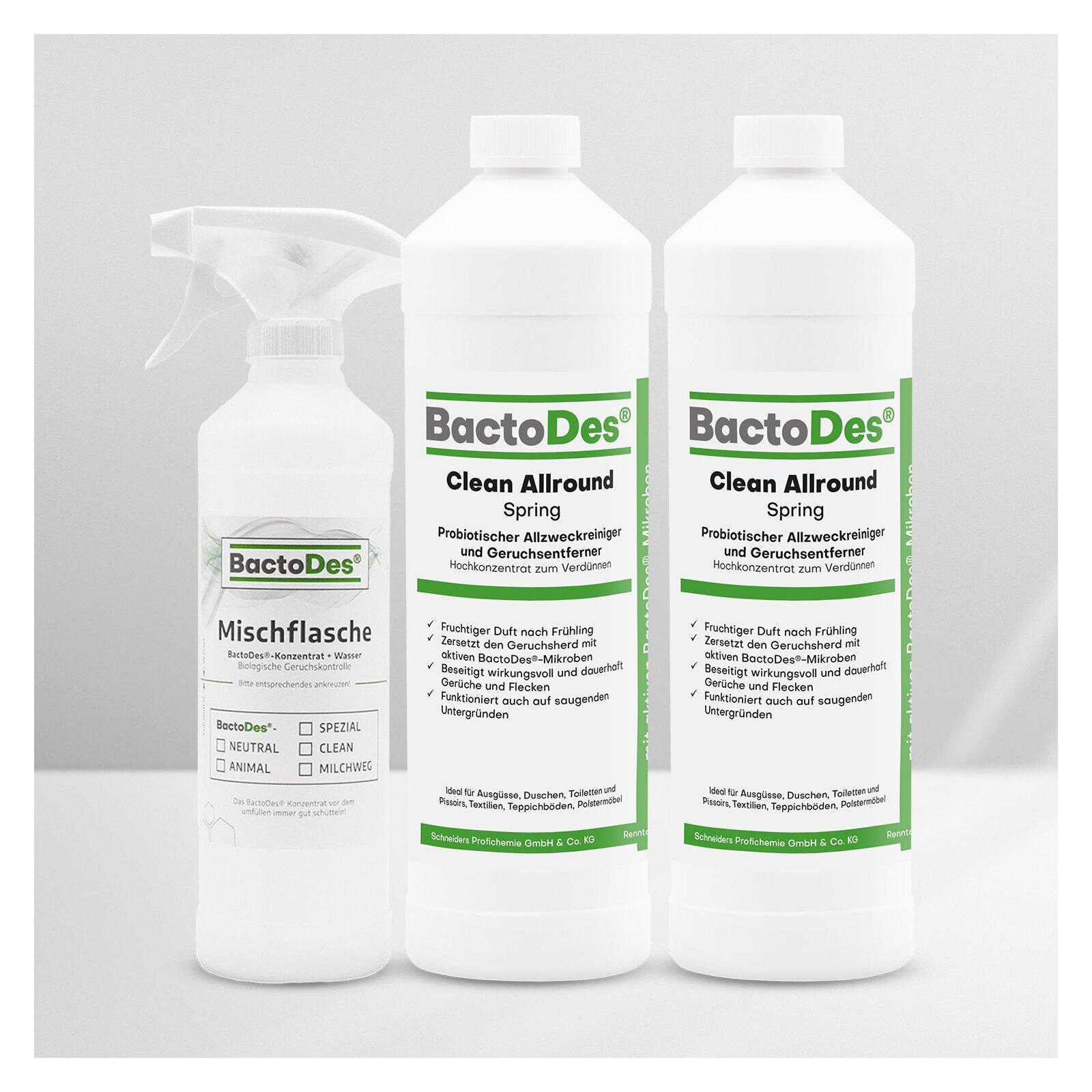 Bactodesand-clean Spring - Frühlingsbrise - Frisch - Blumig - Grün 2x1 Liter Set Incl.1 Misch- Und Sprühflasche