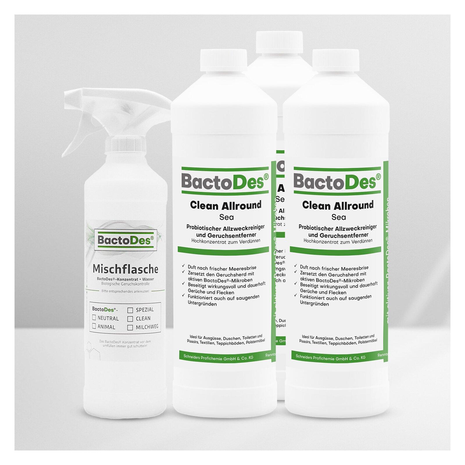 Bactodesand-clean Sea - Meeresbrise - Frisch - Aquatisch 3x1liter Set Incl.1 Misch-und Sprühflasche