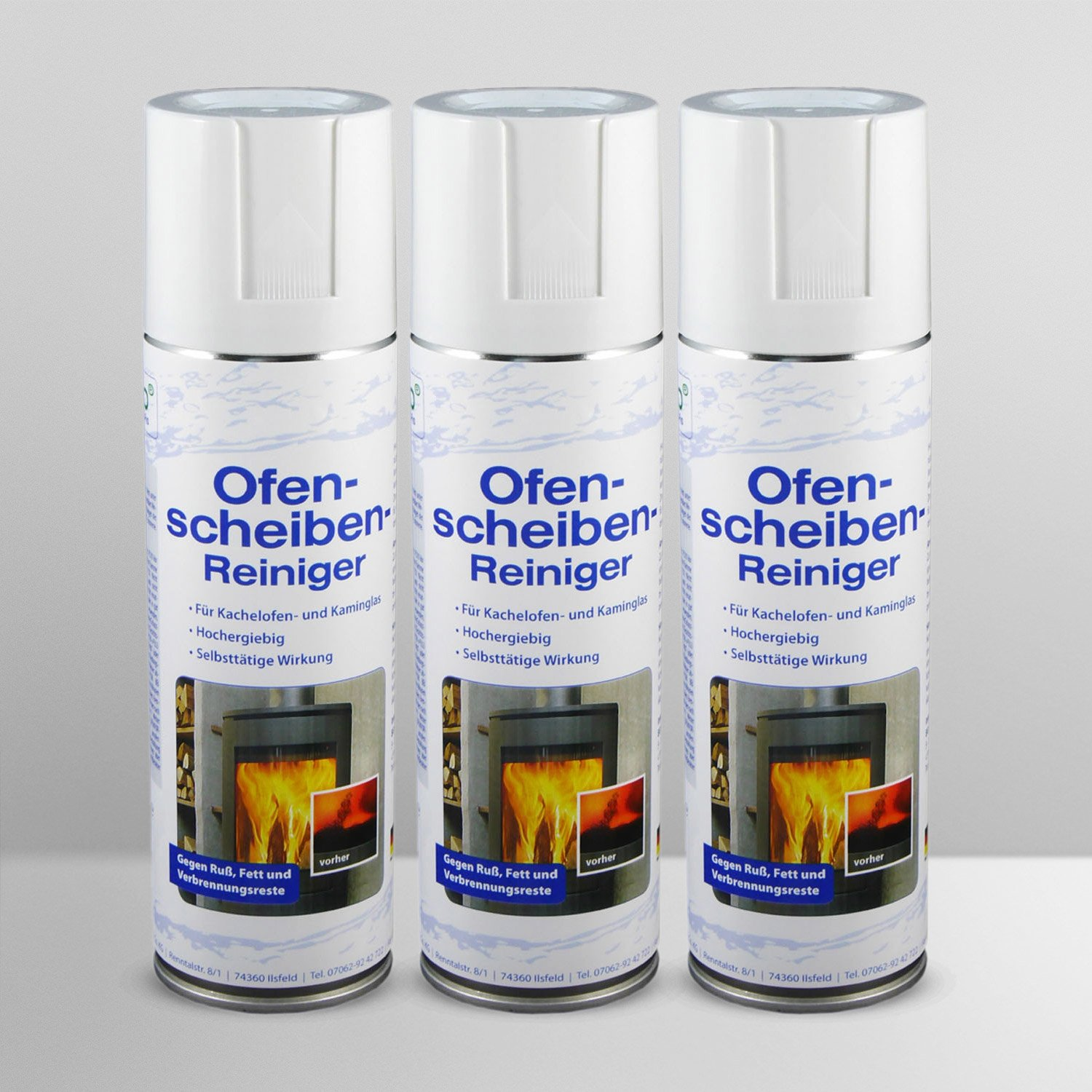 S-Pro Ofen- und Kamin-Scheibenreiniger 3 Dosen-Set