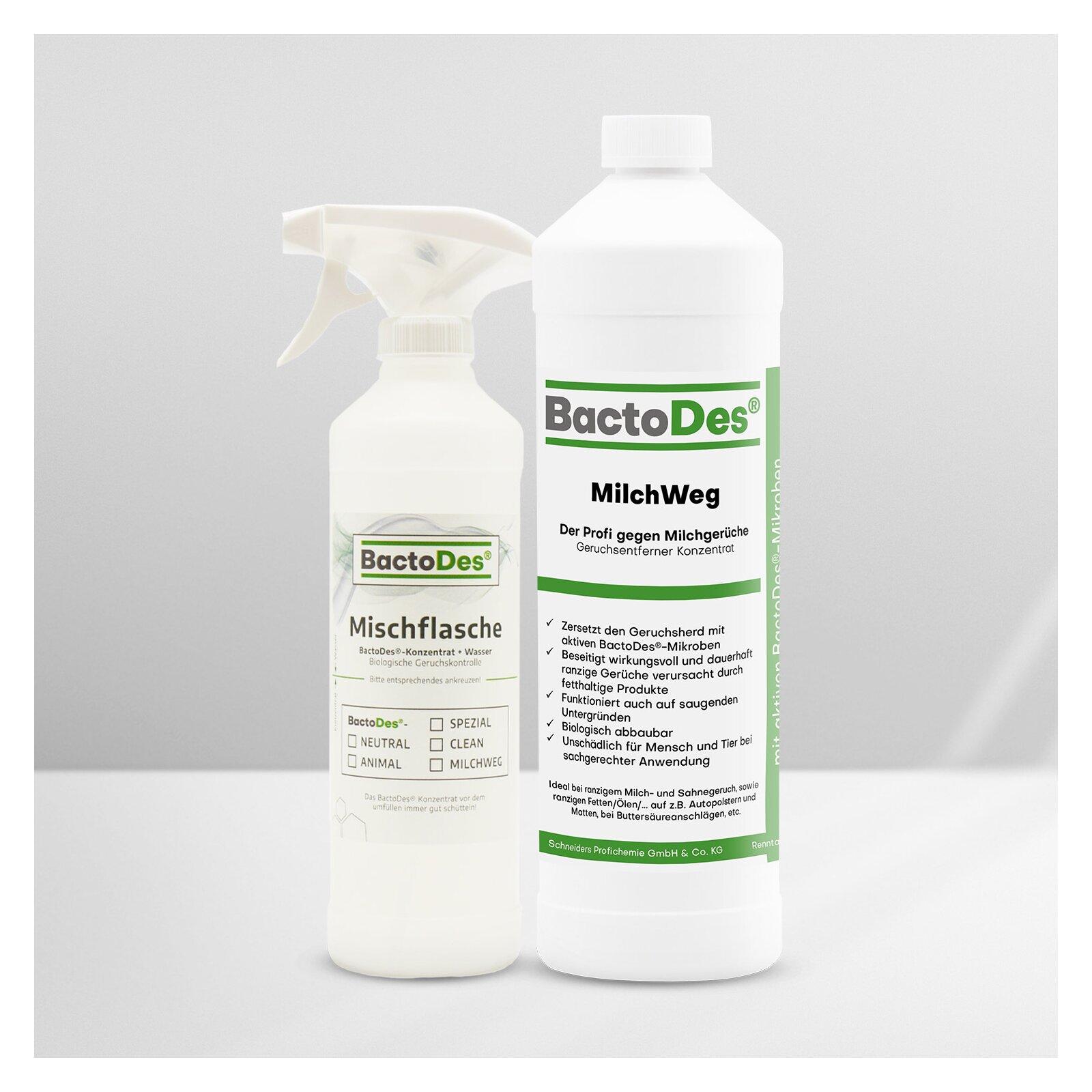 BactoDes®-MilchWeg Milchgeruch und Buttersäure Neutralisierer incl. 1 Misch- Und Sprühflasche